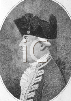 Royalty Free Photo of Alan Gardner, 1st Baron Gardner (1742-1809) on engraving from the 1800s. British Royal Navy officer and peer of the realm. Engraved by Pierson and published by J.Sewell.