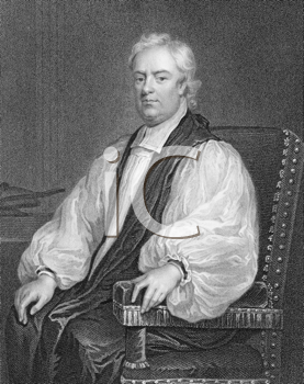 Royalty Free Photo of John Tillotson (1630-1694) on engraving from the 1800s. Archbishop of Canterbury during 1691-1694. Engraved by W.Holl and published by the London Printing and Publishing Company