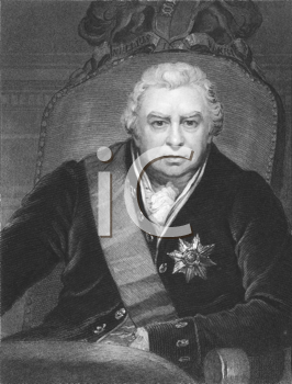 Royalty Free Photo of Joseph Banks (1743-1820) on engraving from the 1800s. Naturalist and patron of science. Engraved by C.E. Wagstaff and published in London by Charles Knight, Pall Mall East.