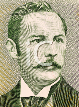 Royalty Free Photo of Rafael Yglesias Castro on 5 Colones 1990 Banknote from Costa Rica. Twice president of Costa Rica during 1894-1902.