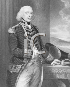 Royalty Free Photo of Richard Howe, 1st Earl Howe (1726-1799) on engraving from the 1800s. British naval officer, notable for his service during the American War of Independence and French Revolutiona