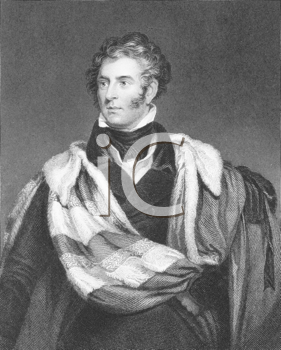Royalty Free Photo of Thomas Philip de Grey, 2nd Earl de Grey (1781-1859) on engraving from the 1800s. British Tory politician and statesman. Engraved by H.Robinson after a painting by W.Robinson and