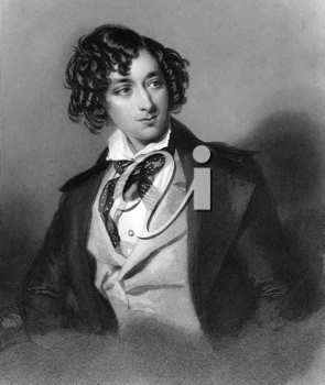 Benjamin Disraeli, 1st Earl of Beaconsfield  (1804-1881) on engraving from 1839. British Prime Minister, parliamentarian, Conservative statesman and literary figure. Engraved by H.Robinson after a pai