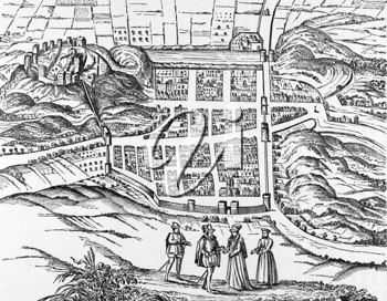 Plan of Edinburgh from a print of early 1600s on engraving from 1800s