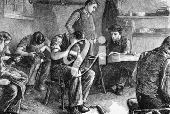 Shoemaking at the philanthropic society's farm school at redhill on engraving from 1872 published in the Graphic.