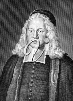 August Herman Franck (1663-1727) on engraving from 1859. German theologian and educator. Engraved by unknown artist and published in Meyers Konversations-Lexikon, Germany,1859.
