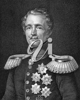 Friedrich Graf von Wrangel (1784-1877) on engraving from 1859. General feld marschall of the Prussian Army. Engraved by A.Weger and published in Meyers Konversations-Lexikon, Germany,1859.
