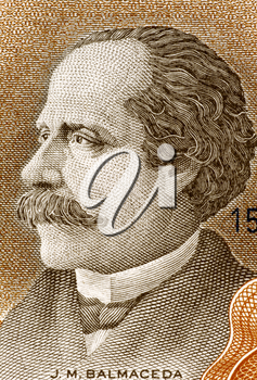 Jose Manuel Balmaceda (1840-1891) on 10 Escudos 1967 Banknote from Chile. 11th President of Chile during 1886-1891.