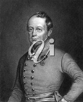 Joseph Radetzky von Radetz (1766-1858) on engraving from 1859. Czech nobleman and Austrian general. Engraved by G.Wolf and published in Meyers Konversations-Lexikon, Germany,1859.