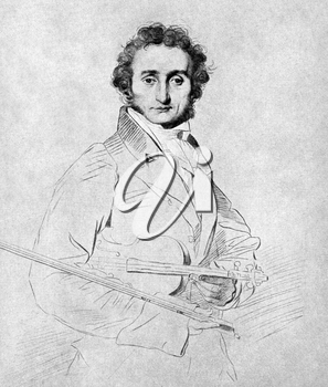 Niccolo Paganini (1782-1840) on antique print from 1899. Italian violinist, violist, guitarist and composer. After Calamatta and published in the 19th century in portraits, Germany, 1899.