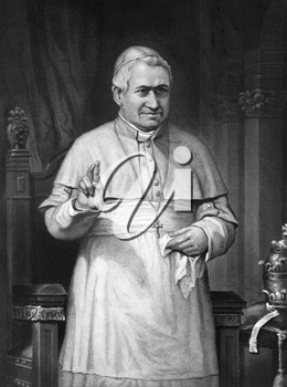 Pope Pius IX (1792-1878) on engraving from 1873. Born Giovanni Maria Mastai-Ferretti, was the longest reigning elected Pope in Church history during 1846-1878. Engraved by unknown artist and published