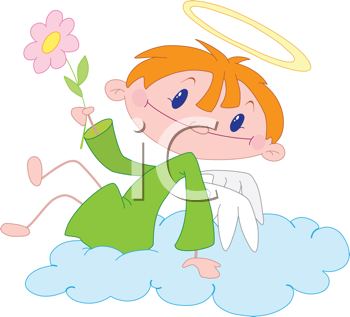 Royalty Free Clipart Image of an Angel Boy