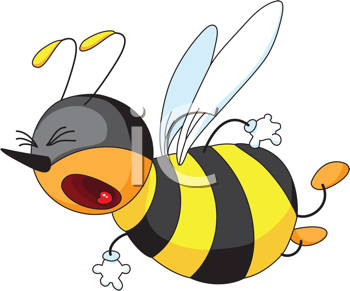 Royalty Free Clipart Image of a Bee With Its Mouth Open and Eyes Closes