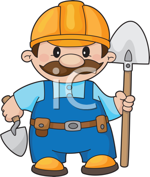 Royalty Free Clipart Image of a Builder With a Shovel and Trowel