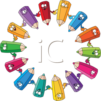 Royalty Free Clipart Image of a Circle of Pencil Crayons