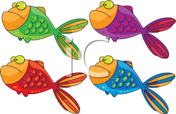 Royalty Free Clipart Image of a Group of Fish