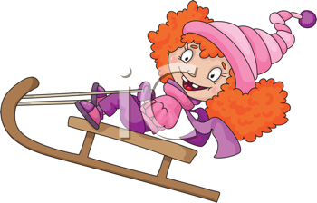 Royalty Free Clipart Image of a Little Girl on a Sled