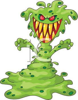 Royalty Free Clipart Image of a Scary Green Monster