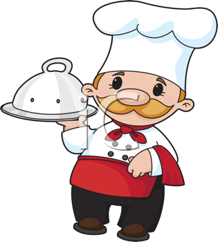 Royalty Free Clipart Image of a Baker With a Domed Tray