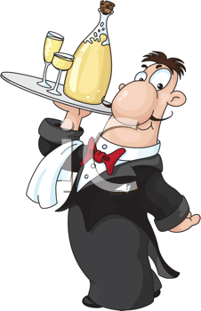 Royalty Free Clipart Image of a Waiter With Champagne
