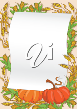 illustration of an autumn and pumpkin background