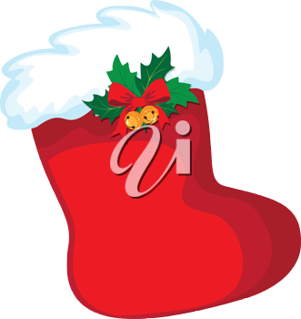 illustration of a Christmas stocking and ribbon