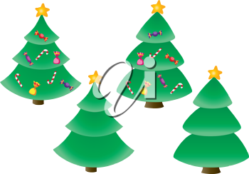 illustration of a Christmas tree and candy set