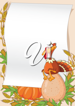 illustration of a turkey and egg background