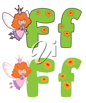 illustration of a letter F fairy