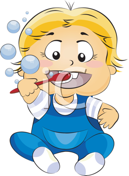 Royalty Free Clipart Image of a Baby Brushing His Teeth