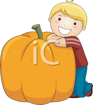 Royalty Free Clipart Image of a Boy With a Big Pumpkin