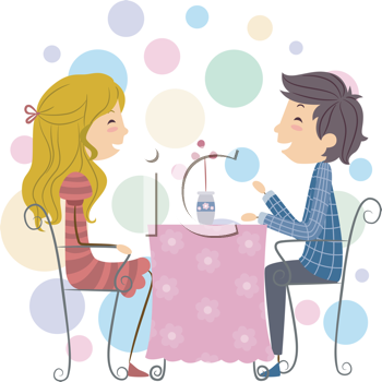 Royalty Free Clipart Image of a Couple on a Date