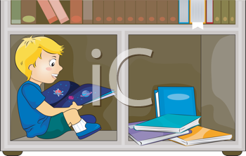 Royalty Free Clipart Image of a Child Reading in a Bookshelf
