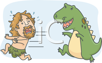 Royalty Free Clipart Image of a T-Rex Chasing a Caveman