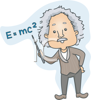 Royalty Free Clipart Image of Einstein Pointing to E=mc2