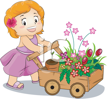 Royalty Free Clipart Image of a Little Girl Pushing a Cart of Flowers