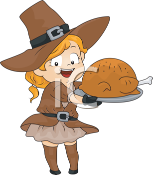 Royalty Free Clipart Image of a Little Girl in a Pilgrim Costume With a Turkey