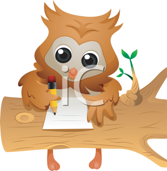 Royalty Free Clipart Image of an Owl Writing