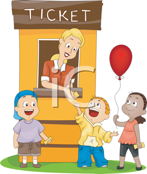 Royalty Free Clipart Image of Children, at a Ticket Booth