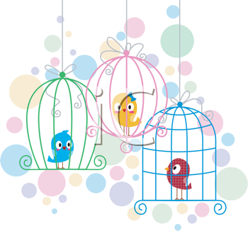 Royalty Free Clipart Image of Birds in Cages