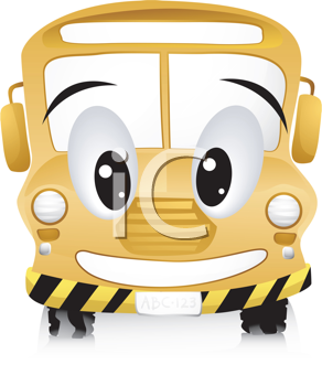 Royalty Free Clipart Image of a Smiling School Bus