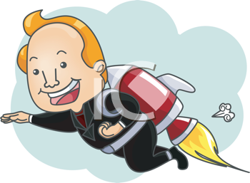 Royalty Free Clipart Image of a Man With a Rocket on His Back