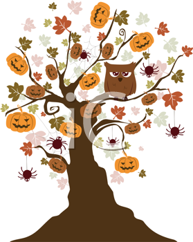 Royalty Free Clipart Image of a Halloween Tree