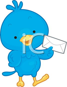 Royalty Free Clipart Image of a Bird With an Envelope