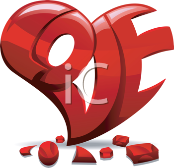 Royalty Free Clipart Image of the Word Love Carved Out of a Heart
