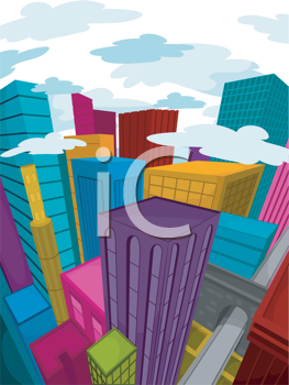Royalty Free Clipart Image of Coloured Buildings