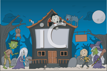 Royalty Free Clipart Image of a Halloween Scene With Traditional Characters