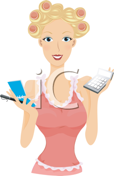 Royalty Free Clipart Image of a Girl With Her Hair in Rollers Holding a Calculator and Notepad