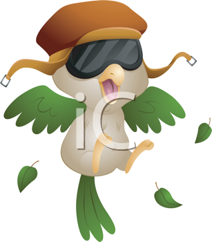 Royalty Free Clipart Image of a Pilot Bird Taking Off