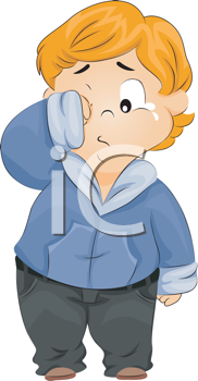 Royalty Free Clipart Image of a Child Wiping His Tears